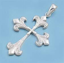 Cross Pendant w Cubic Zirconia Sterling Silver 925 Antique Style Jewelry 28 mm
