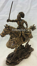 ARMOR Medieval Armored Knight & Horse Charging W Sword Statue Figurine Sculpture