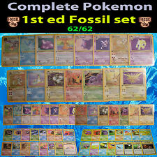 COMPLETE 1st FIRST edition Pokemon FOSSIL Full Card Set/62 Holo Rare Prerelease
