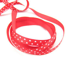 "5 Yards 3/8"" 9mm Red heart Printed Cute Grosgrain Ribbon for crafts making  ZY1"