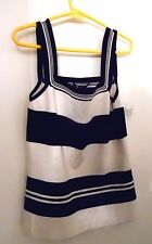SIZE MEDIUM SISTERS SLEEVELESS WHITE & BLACK STRIPED SILK & SPANDEX TOP NEW -NWT