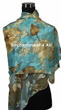"New Stunning Handmade 60""x20"" 100% Pure Silk Floral Sheer Scarf Wrap Blue/Golden"