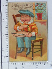 ATMORE'S MINCE MEAT ENGLISH PLUM PUDDING BOY SITTING IN CHAIR PIE IN LAP 1541