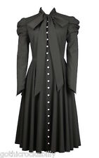 Black Gothic Victorian Christmas Steampunk Romantic Vamp Button Tunic Dress 14