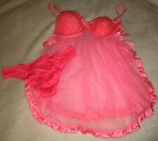 NWT Victoria's Secret Sexy Sequin Nightie Babydoll Chemise Slip Lingerie 36B & L