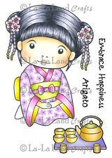 KIMONO MARCI WITH TEA-La-La Land Crafts Cling Mount Rubber Stamp-Stamping-Geisha