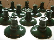 "(1) VTG 12"" Porcelain Flush Mount Industrial Green Enamel Barn Light Lamp"