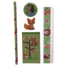Fox & Friends 5 Piece Stationery Set Notepad, Ruler, Pencil, Sharpener, Eraser