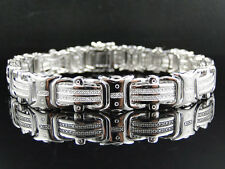 Mens Pave 12 MM White Gold Finish Round Cut Genuine Diamond Bracelet .50 Ct 9 In