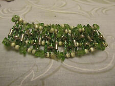 "Green Crystal Silver Tone & White Glass Bead Elasticated Bracelet - 1.25"" wide"