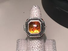 Barse Jewelry Sterling Silver and Amber Secret Keepers Size 7 Ring