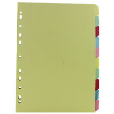 10 sets x 10 Part Subject Filing Dividers File A4 Multi Punched Coloured