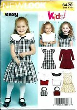 NEW LOOK 6420 sewing pattern DRESS & PURSE BAG girl's sew Cute sizes 3,4,5,6,7,8