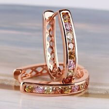 Intriguing colorful sapphire Huggie 18K rose gold filled SHINING earring