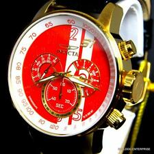 Invicta S1 Rally Racing Red Gold Plate Black Leather Chronograph Watch 19907 New