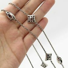 """Vintage Sterling Silver Oval & Rhombus Ultra Long By The Yard Chain Necklace 52"""""""