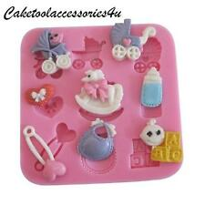 New Silicone Baby Bottle Care Christening Chocolate Mold Icing Plaster Ice Mould