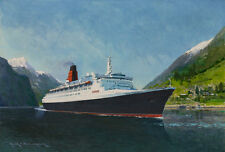QE2 Queen Elizabeth 2 Cunard Ocean Liner Norway Cruise Ship Painting Art Print