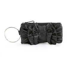 Black Faux Leather Bow Ruffle Silver Ring Wristlet 10 x 5""