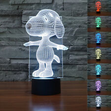 New 3D Snoopy Dog Puppy Night Light 7 Color Change LED Desk Table Lamp Toy Gift