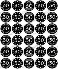 30 x HAPPY 30th BIRTHDAY Edible Wafer Paper Cupcake Toppers BLACK RED PINK BLUE