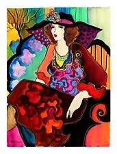 "Patricia Govezensky ""Karly"" Original Watercolor Colorful Dress Lady Art painting"