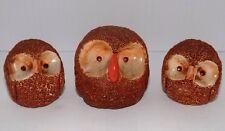 Three Moorcraft Design Hand Painted Owls Circa 1960