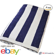 4 JUMBO WHITE NAVY STRIPE HOTEL CABANA BEACH TOWELS POOL TOWEL 30x60 BATH TOWEL