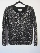 Current/Elliott Letterman Sweatshirt Black & Silver Leopard Cotton $178 MEDIUM