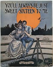 """1908 """"YOU'LL ALWAYS BE JUST SWEET SIXTEEN TO ME"""" SHEET MUSIC - LARGE FORMAT MOON"""