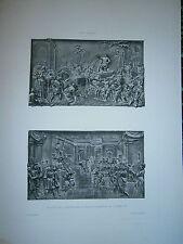 Gravure  19° Jean Bologne Bas relief latéraux statue équestre de Cosme 1er