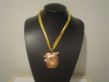 "big copper-color apple pendant necklace on multistrand yellow ribbon 19""-20"""
