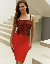 Stunning Red & Black Lipsy Dress Size 8 Bodycon Cami Lace Pencil Party Evening