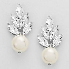 Silver and White Leaf Crystal Pearl Earrings