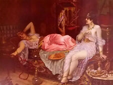 Oil painting Moritz Stifter - in the harem two nice young women in room canvas