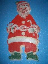 vintage christmas screen print santa 30's 40s? fabric AWESOME Unusual WOW