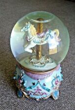 Old Time Carousel Horse Snow Globe - Sculptured Resin Water Ball Music Box