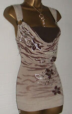 NEW JANE NORMAN  Stone Mocha Chocolate 2in1 Drop Cowl Buckle Twist Top Size 14