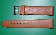 21mm Men's Flat Watch  Band/Strap in Brown Genuine Leather Silver Buckle