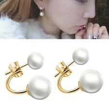 Women / Girls 925 Sterling Silver Cultured Freshwater Pearl Ear Stud Earrings EH