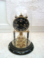 "BUH German Anniversary 400 days Gilded Case Glass Dome Clock  GWO 12""H 7.5""D"