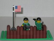 Lego Custom Minifig WW2 US Modern Warfare Machine Gun Nest with 2 Minifigs