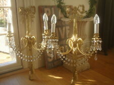 ~ huge ~ pair vintage french crystal wall lights sconces ~~