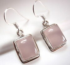 Rose Quartz Simple Rectangle Earrings 925 Sterling Silver Dangle Drop New