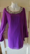 LIPSY Ladies pink chiffon lined jeweled silk effect  dress.Size 14
