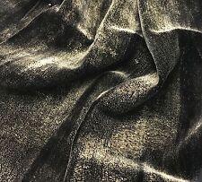 "Hand Painted Silk Velvet Fabric - Metallic Gold on Black Fat 1/4 18""x22"""