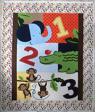 JUNGLE MONKEYS fabric panel QUILT TOP 1 2 3 cotton BABY fabric FREE SHIP NEW BTP