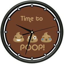 TIME TO POOP Wall Clock funny crude cute gag gift