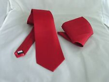 """NEW  Shiny Brick Red Mens Classic Polyester Tie and Hanky Set -3.3"""" = 8cm Width"""