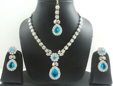 FIROZI KUNDAN SILVER TONE INDIAN BOLLYWOOD PARTY WEAR NECKLACE JEWELRY SET 4 PCS